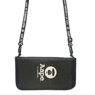 Instock! AAPE by the Bathing Ape BAPE (Black) Travel Passport / Card Holder Organizer with Sling ASC3191 + FREE Post