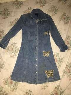 Denim dress with patch