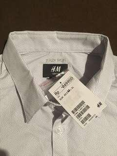 Kemeja H&M Easy Iron White Dot Shirt Original New With Tag