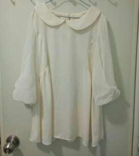 正韓 象牙白雪紡蝴蝶結袖上衣  可換物