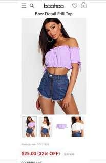 Boohoo off the shoulder top in lilac