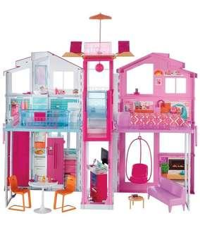 (PO) BN Barbie Deluxe Three-Storey Townhouse Doll House Playset w/ Accessories