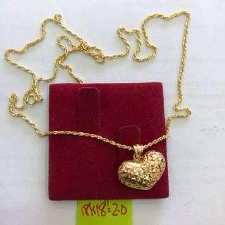 18k Saudi Gold Necklace with Heart Pendant
