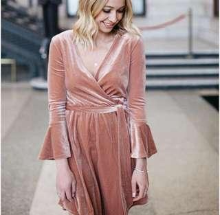 H&M velvet rose gold dress