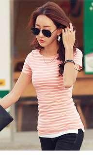Orangey stripe shirt top