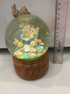 Globe rabbit music box