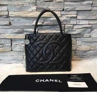 Authentic Chanel Medallion Caviar Black