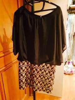 Marciano Dress - Black with Gold Sequin Skirt - Size M
