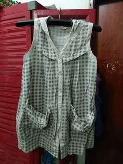 Babydoll dress mini kotak kotak