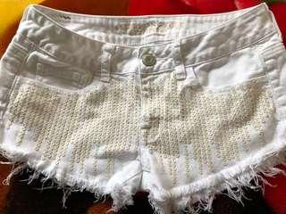 American Eagle white sequin shorts - mid rise-size 2