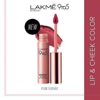 Lakme 9to5 Reinvent Weightless Matte Lip & Cheek Color - Plum Feather Lipstick