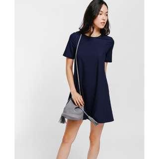 BNIB Love Bonito LB Raelia Round Neck Shift Dress Navy Blue XXS
