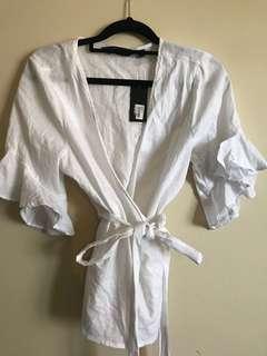 Linen Wrap Top