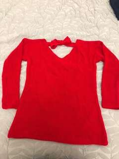 Hot Red open back pullover