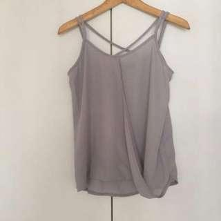 Something Borrowed Grey Crossover Spag Top