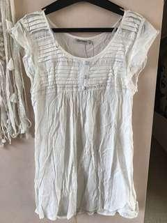White Top, lace detail size 8