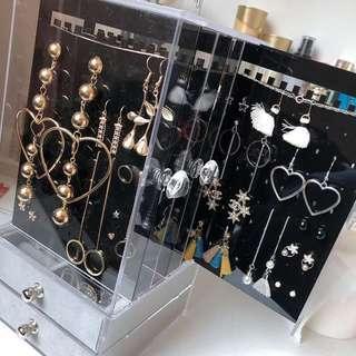 全新耳環飾物收納箱+2小櫃子