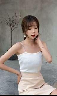 White straight neck cami top