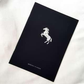 🚚 Black Timeless Monthly Planner w Silver Unicorn Print