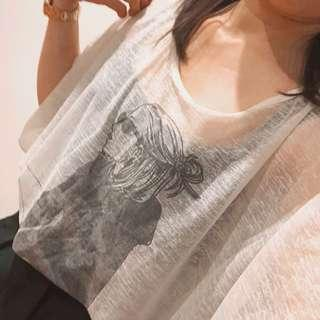 (S) Mesh Graphic Batwing Tee