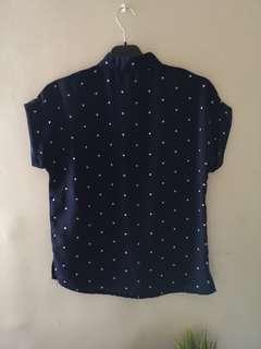 Printed cuffed blouse