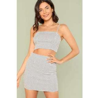Grid Print Zip Back Cami Topo with Skirt White Two Piece Set