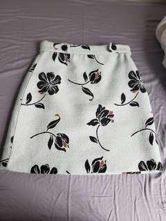 Zara Floral Jacquard Skirt Small