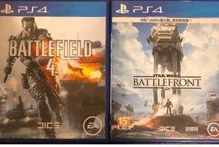 ps4 battlefield4+battlefront=2隻