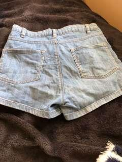 Blue cotton on high rise shorts