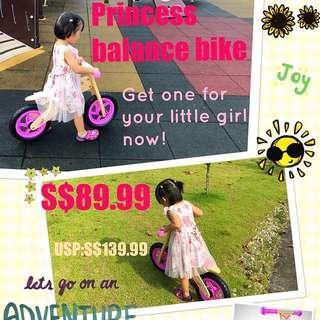 Princess Balance Bike, Run bike, scooter, Bicycle, no pedals, no training wheels