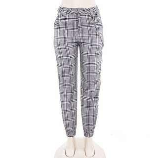 Grey plaid cargo pants