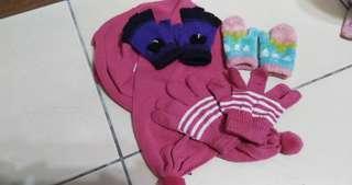 🚚 二手兒童手套(三組手套、一條圍巾)