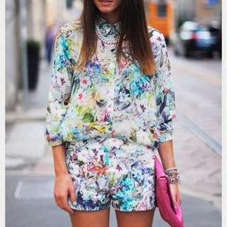 Zara Inspired Mint Floral Shorts