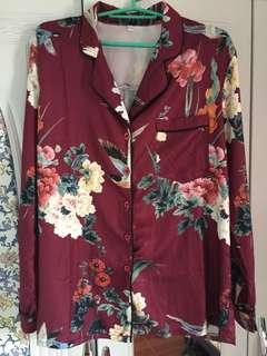 Floral Long Sleeves Polo