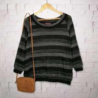 Crazy Angel Black and Striped Knitted Top