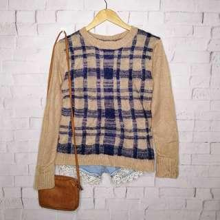 Mocha & Blue Plaid Knitted Sweater