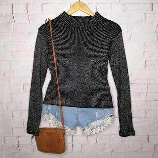 Classy Black Glittered Knitted Top