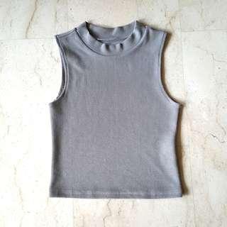 #single11 Pomelo grey mock neck tank