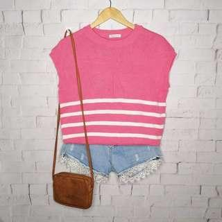 Pink Sailboat Knitted Top