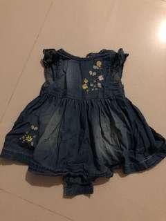 Baby girl denim dress romper