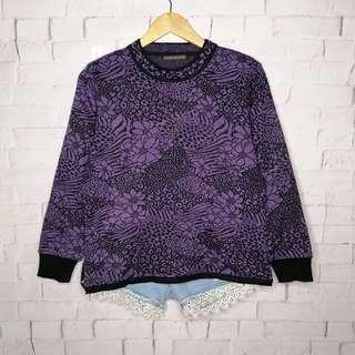 Violet Floral Knitted Sweater