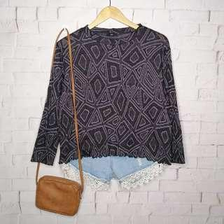Lettuce Gray Geometric Knitted Top