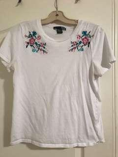 Floral Embroidered Tee | Size Large