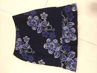 Blue floral mermaid style skirt