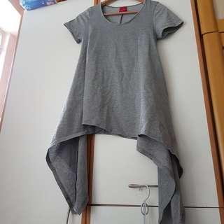 灰/銀色兩邊長設計tee Grey/Silver design t-shirt