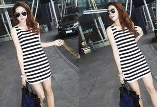 🆓📮Black & White Striped Dress  #Everything18