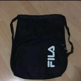 Black Fila Drawstring Bag