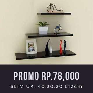 Rak dinding SLIM 1 set 3pc Uk. 40,30,20 L12cm Tebal 2,2cm