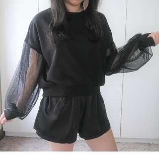 Sheer Sleeve Edgy Design Sweater
