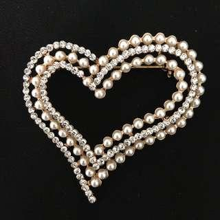 Rhinestones Brooch Love